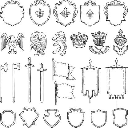 Ortaçağ Hanedan Sembolleri Beyaz Izole Et Vektör El Çekilmiş Resimler Stok Vektör Sanatı & ABD'nin Daha Fazla Görseli