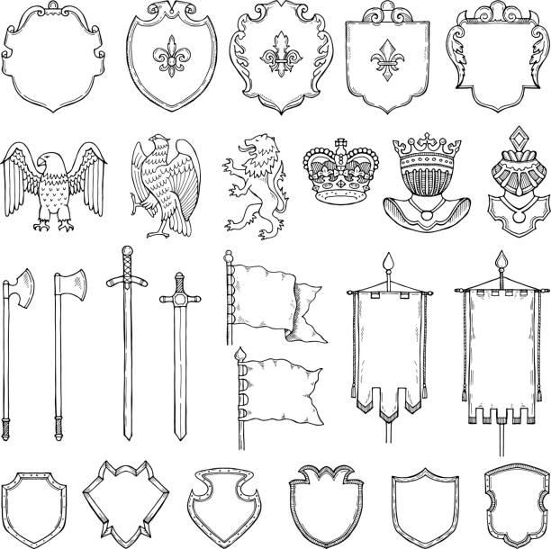 중세 문장 학 상징 화이트에 격리합니다. 벡터 손으로 그려진된 그림 - sword stock illustrations