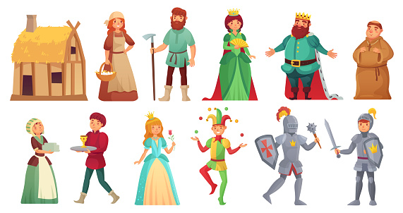 Medieval historical characters. Historic royal court alcazar knights, medieval peasant and king isolated cartoon vector character