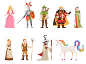 Medieval historical characters. Knight king queen prince princess fairy royal castle dragon horse witch set cartoon, fantasy vector collection