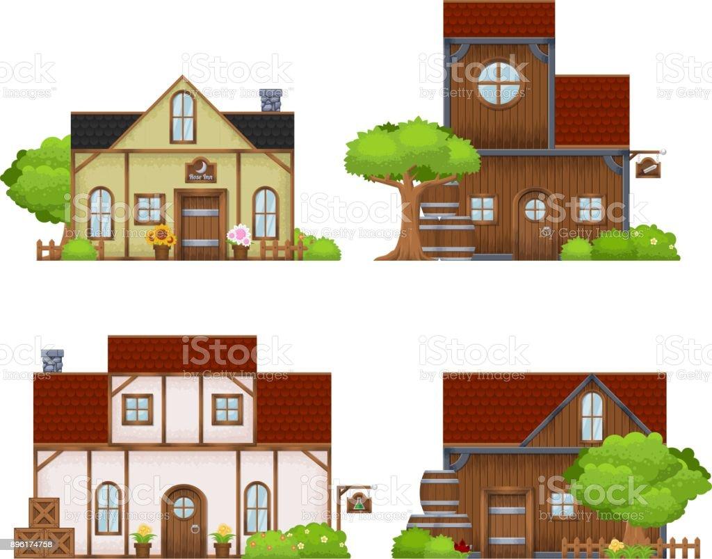 Medieval House Illustration vector art illustration