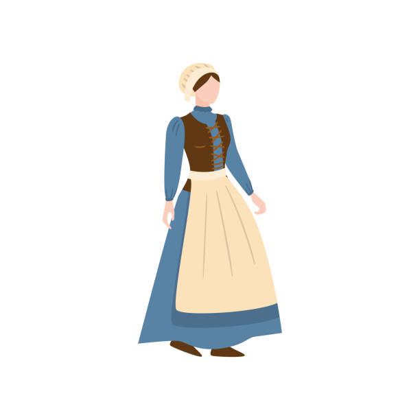illustrations, cliparts, dessins animés et icônes de femme de ménage médiévale dans la longue robe bleue avec le tablier blanc - femme tache de rousseur