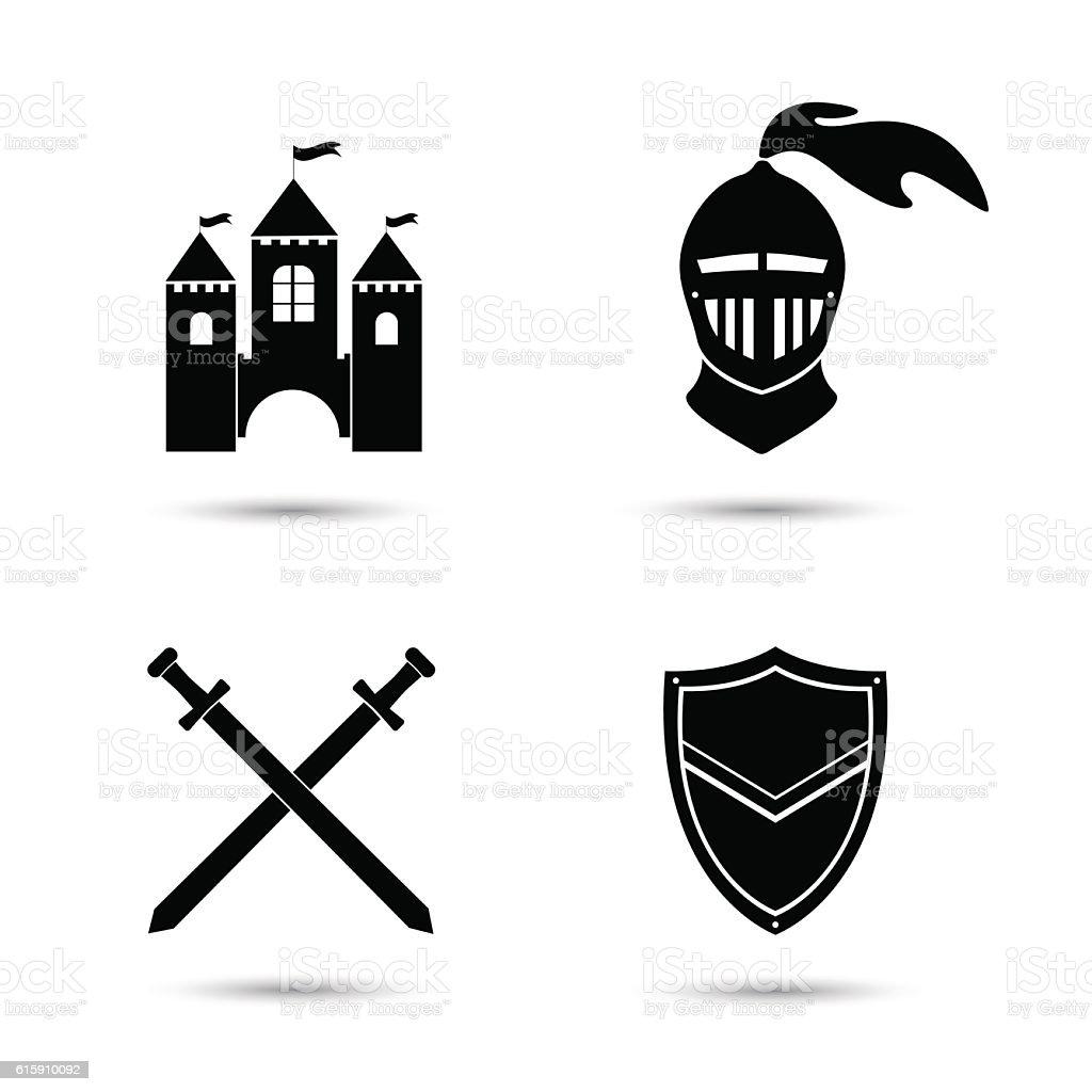 Medieval Icons Set vector art illustration