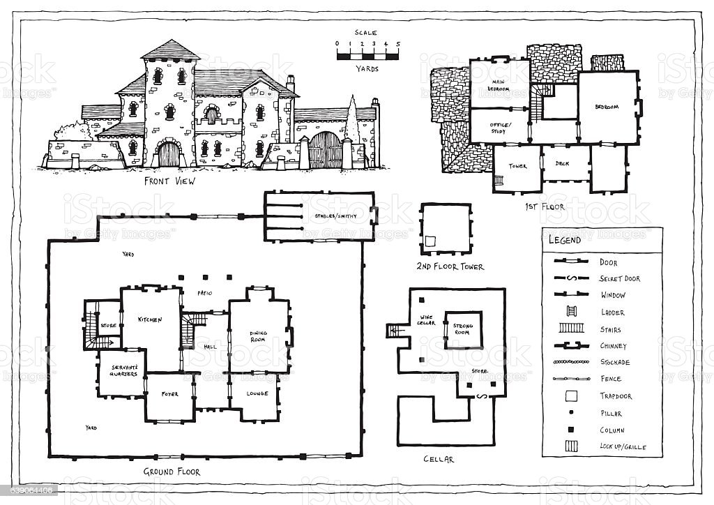 Medieval italian or spanish villa plan stock vector art for Italian house designs plans
