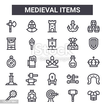 medieval items outline icon set. includes thin line icons such as axe, guillotine, elixir, catapult, hammer, tower, armour, flag. can be used for report, presentation, diagram, web and mobile design