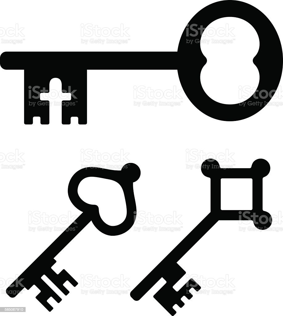 medieval key symbols stock vector art amp more images of