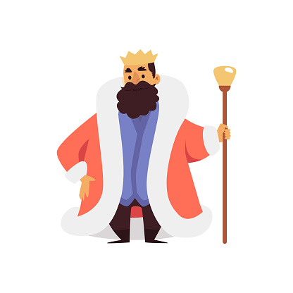 Medieval king in mantle and crown with scepter flat vector illustration isolated.