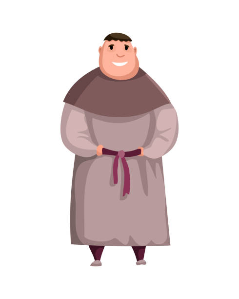 Medieval Kingdom Character. Isolated monk in historical costume on a white background. Vector personage Medieval Kingdom Character. Isolated monk in historical costume on a white background. Vector personage. friar stock illustrations