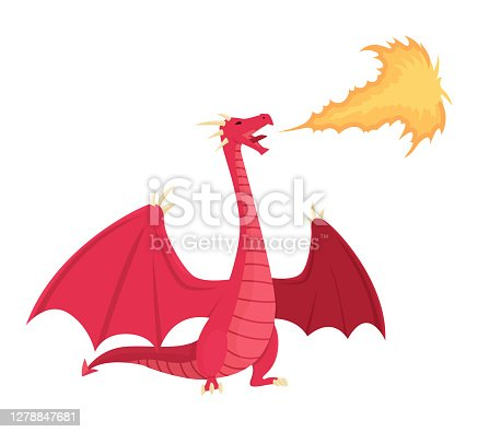 Medieval kingdom character of middle ages historic period vector Illustration. Red dragon spitting fire, mythical fire breathing animal.