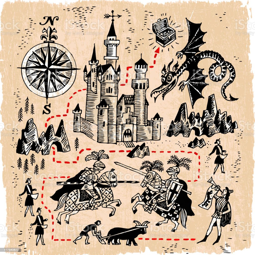 Medieval Kingdom Map with Knights, Castles and Dragons royalty-free stock vector art