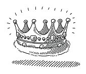 Hand-drawn vector drawing of a Medieval King's Crown. Black-and-White sketch on a transparent background (.eps-file). Included files are EPS (v10) and Hi-Res JPG.