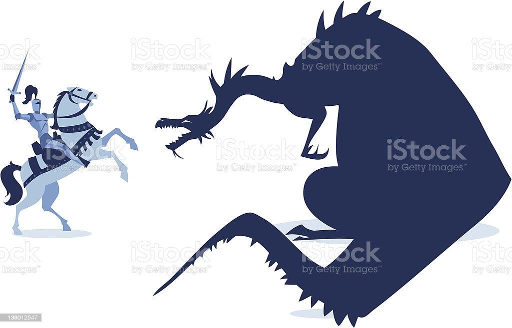 Medievale cavaliere e il Drago - illustrazione arte vettoriale