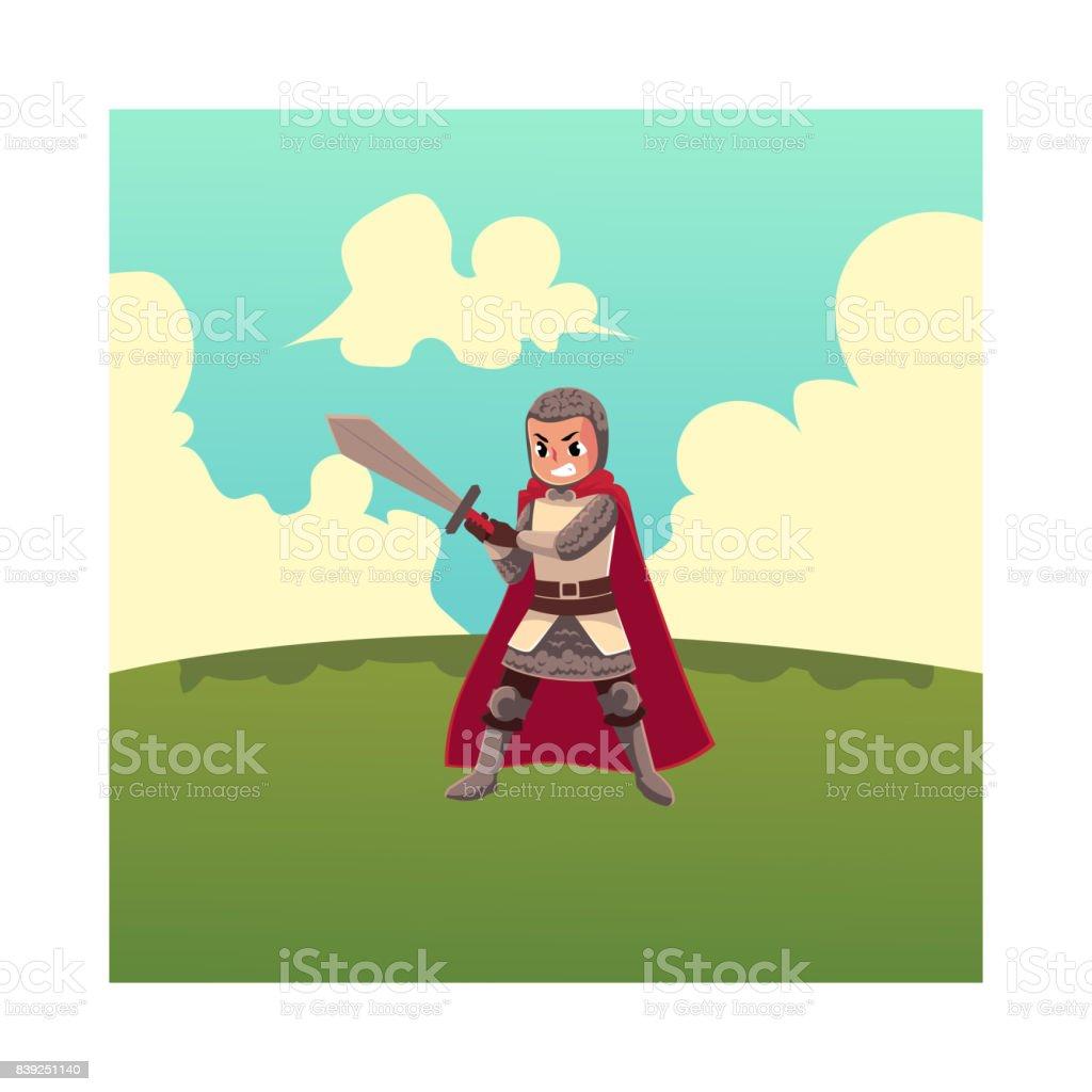 Medieval knight apprentice, sword bearer, squire in chain armor vector art illustration