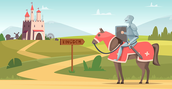 Medieval knight background. Historical armored characters outdoor castle vector cartoon scene