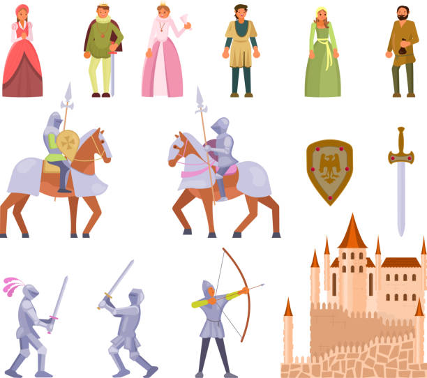 mittelalterliche ritter-icon-set, flache vektor-illustration - prince stock-grafiken, -clipart, -cartoons und -symbole