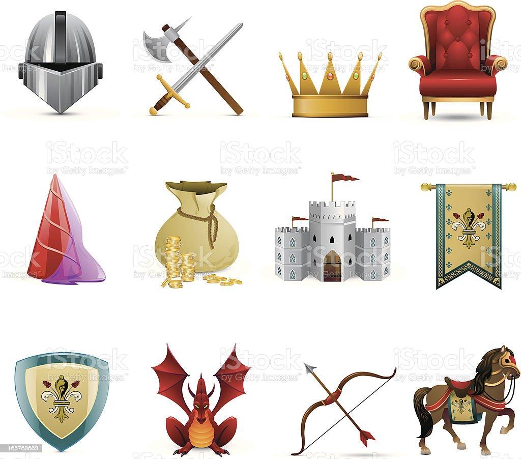 Medieval Knight Icons vector art illustration