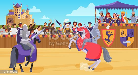 istock Medieval knight joust battle vector illustration, cartoon flat horseman hero knight characters jousting with swords and shields background 1271415089
