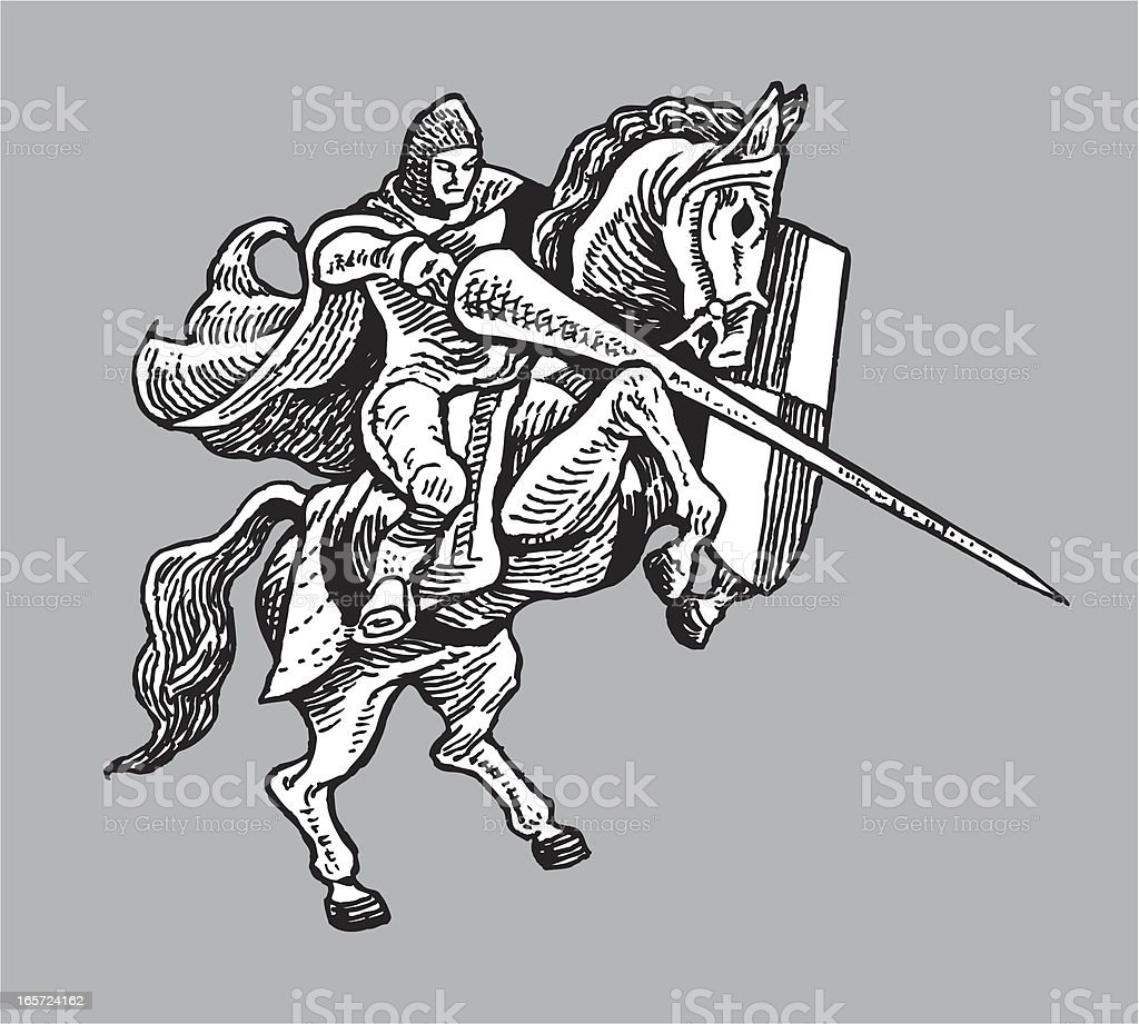 Medieval Knight Joust on Horse with Shield