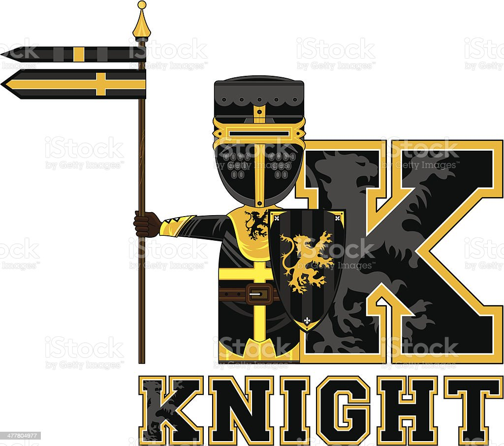 Medieval Knight Learning Letter K royalty-free medieval knight learning letter k stock vector art & more images of adult