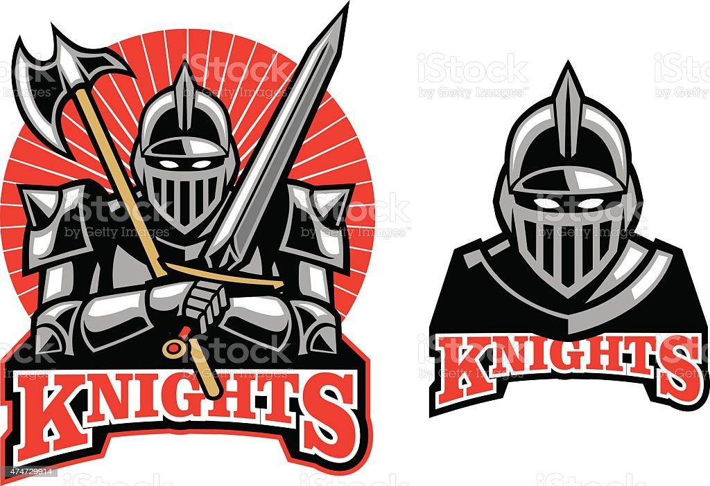 medieval knight mascot vector art illustration