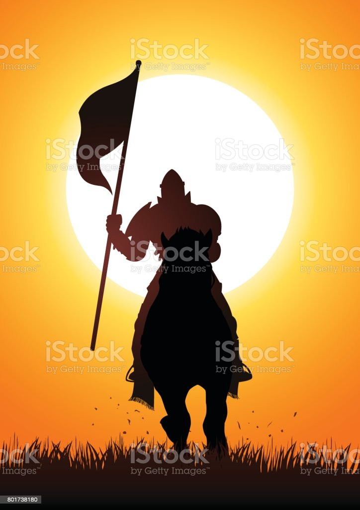 Medieval knight on horse carrying a flag