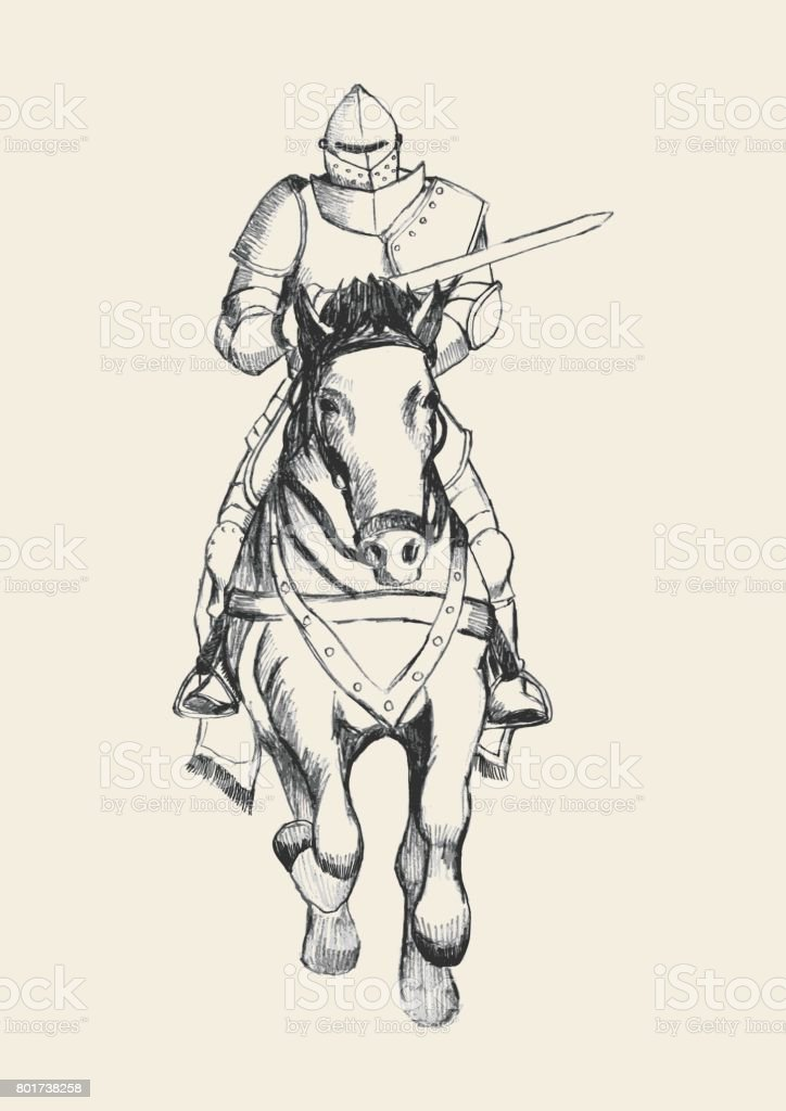 Medieval Knight On Horse Carrying A Lance Stock Illustration Download Image Now Istock