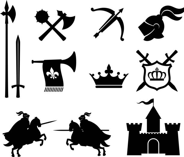 medieval knight royalty free vector icon set - knight in shining armor stock illustrations, clip art, cartoons, & icons