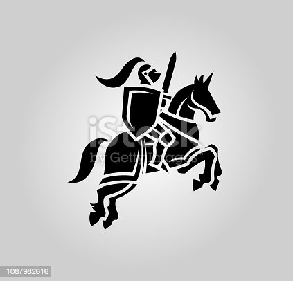 Knight guardian vector silhouette. Medieval Warrior in helmet with shield and sword on a horse