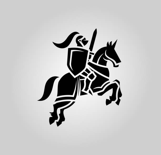 medieval knight with sword and shield on a horse - knight in shining armor stock illustrations