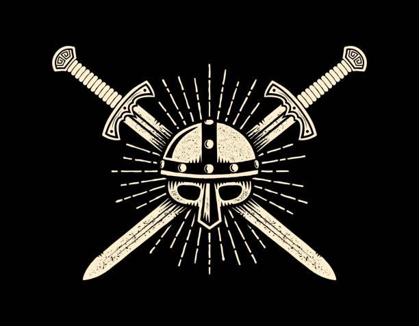 Bекторная иллюстрация Medieval knightly emblem with helmet and crossed swords