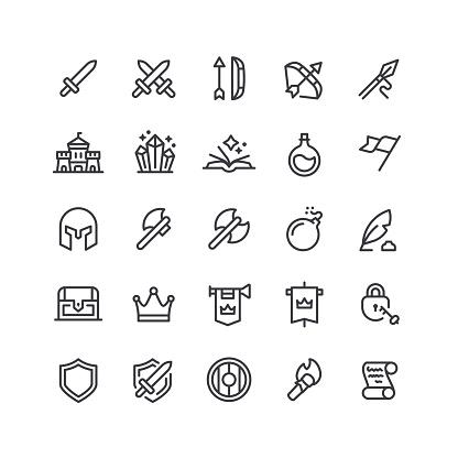 Medieval Line Icons Editable Stroke