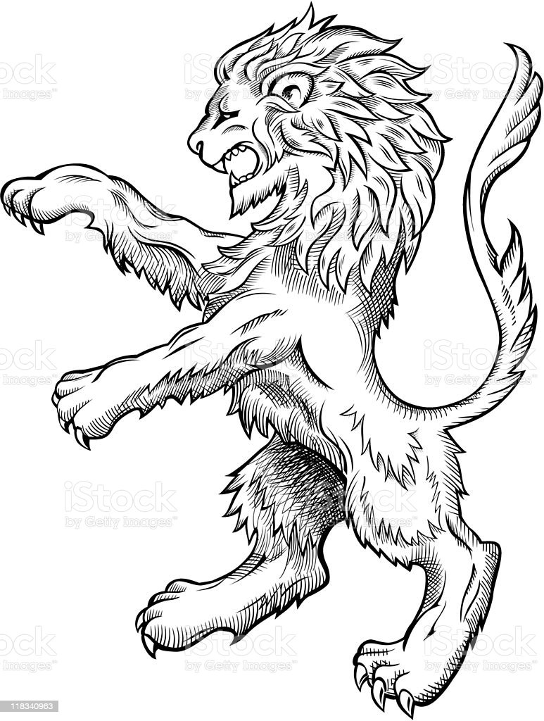 Medieval Lion Drawing vector art illustration