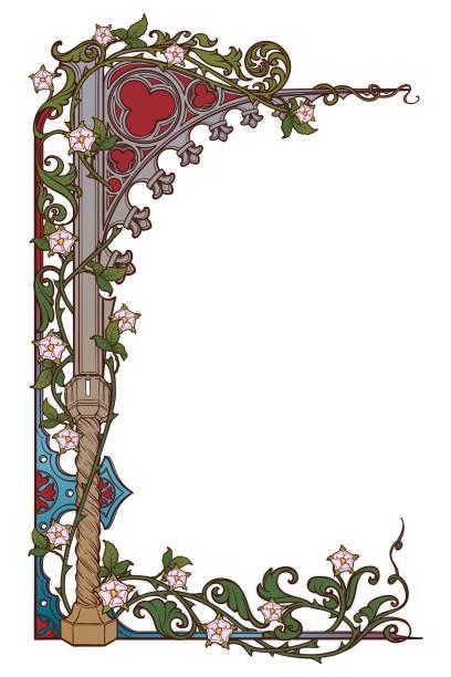 mittelalterliche handschrift stil rechteckigen rahmen. gotik wies bogen mit einer rose blumengirlanden geflochten. vertikale ausrichtung. - mittelalterlich stock-grafiken, -clipart, -cartoons und -symbole