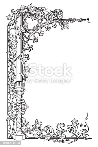 Medieval manuscript style rectangular frame. Gothic style pointed arch braided with a rose garlands. Vertical orientation. EPS10 vector illustration
