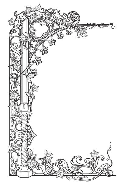medieval manuscript style rectangular frame. gothic style pointed arch braided with a rose garlands. vertical orientation. - средневековье stock illustrations