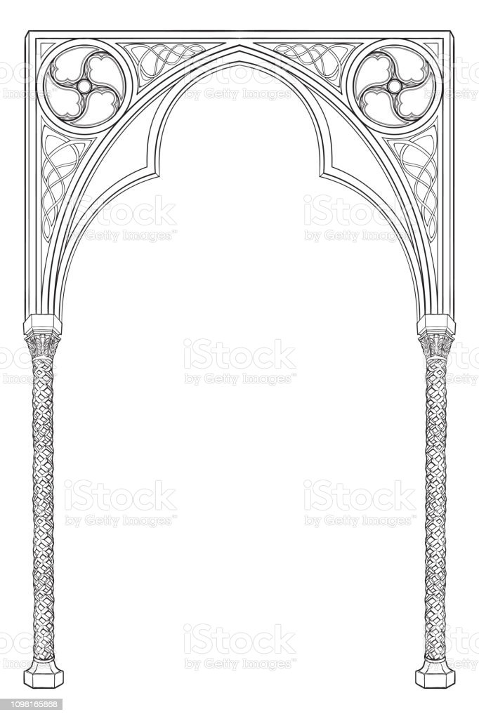 Medieval Manuscript Style Rectangular Frame Gothic Style