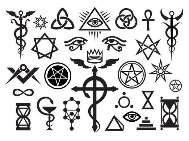 illustrazioni stock, clip art, cartoni animati e icone di tendenza di medieval occult signs and magic stamps, locks, knots (mystique symbols set) - ancient medical symbol