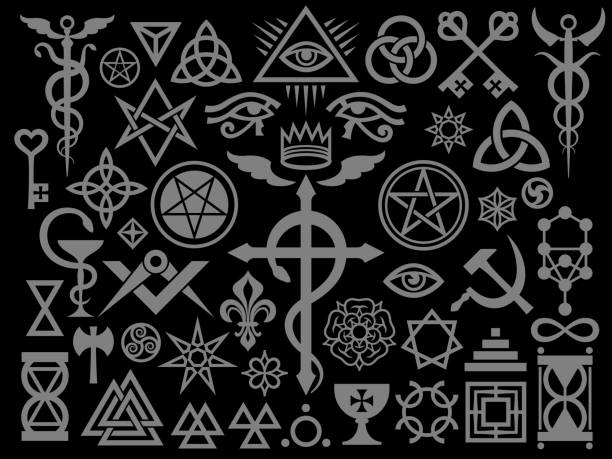 Medieval Occult Signs And Magic Stamps, Sigils, Locks, Knots. Mystic symbols of the Illuminati, Masonic Rituals and Black Magic. (Silver Black Edition). Medieval Occult Signs And Magic Stamps, Sigils, Locks, Knots. Mystic symbols of the Illuminati, Masonic Rituals and Black Magic. (Silver Black Edition). good luck charm stock illustrations