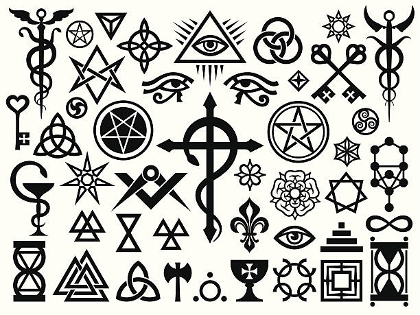 Medieval Occult Signs And Magic Stamps vector art illustration