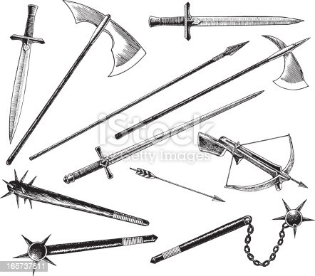 istock Medieval or Renaissance Weapons, Sword and Hatchet 165737811