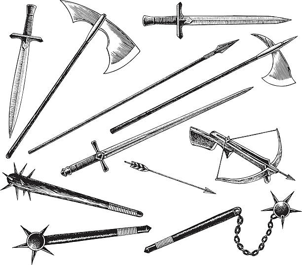 medieval or renaissance weapons, sword and hatchet - sword stock illustrations