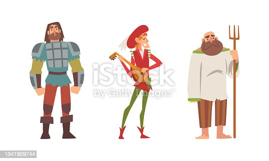 istock Medieval Peasant with Pitchfork and Bard Playing Lute Vector Set 1341909744