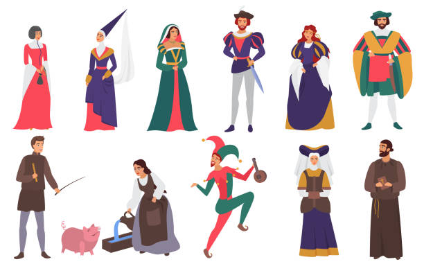 Medieval people vector illustration flat set, cartoon medieval person history collection of man woman characters in old historical aristocrat costumes isolated on white vector art illustration