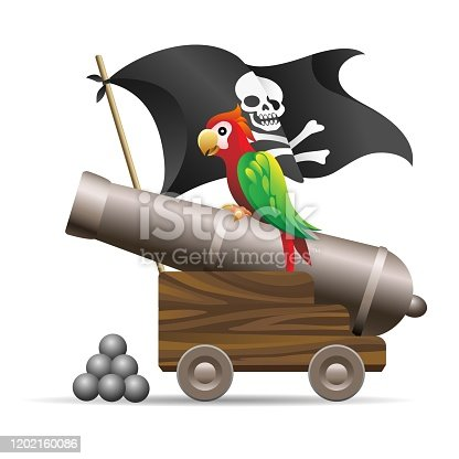 Medieval cannon illustration. Antique pirate cannon with parrot, cannonballs and jolly roger blackjack flag isolated on white background