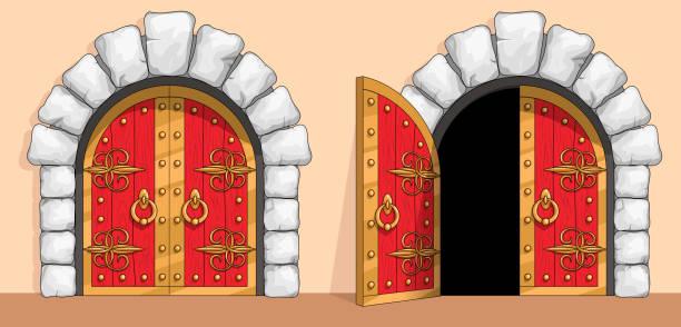 bildbanksillustrationer, clip art samt tecknat material och ikoner med medeltida röd trä grind dekorerad med smidesjärn - wood stone
