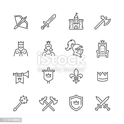 Medieval related icons: thin vector icon set, black and white kit
