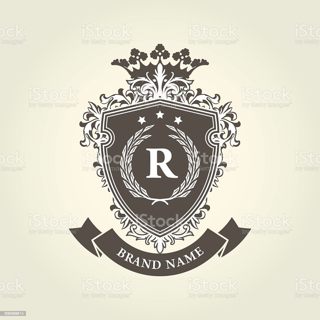 Medieval royal coat of arms - shield - ilustração de arte em vetor
