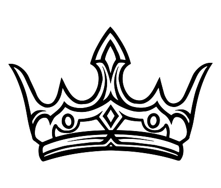 Medieval royal crown monochrome tattoo template