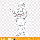Medieval salesman, merchant marketer. Middle social class in medieval Europe. Editable line sketch. Stock vector illustration.