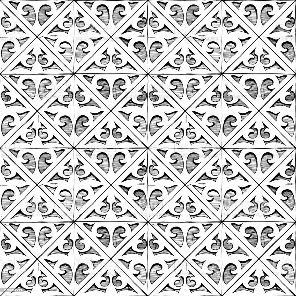 Medieval seamless ornament vector art illustration